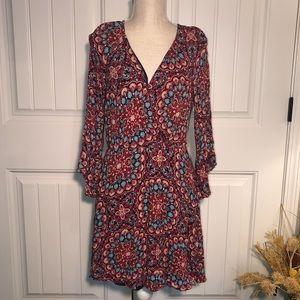 As U Wish mandala pattern dress, flare sleeves, L